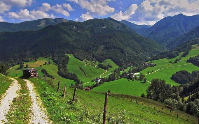 Lumplgraben, Almkogel und Gamsstein beim Abstieg vom Hiiaslberg