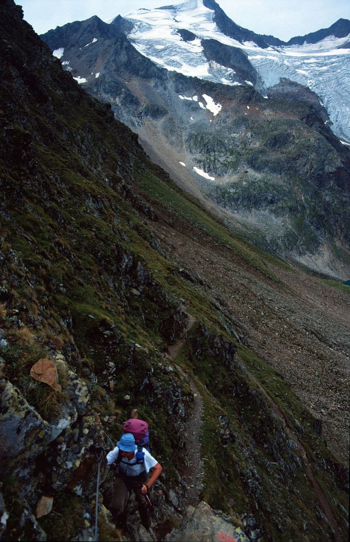 Drahtseil versichertes Steilstück unter dem Niederl auf dem Weg zur Nürnberger Hütte