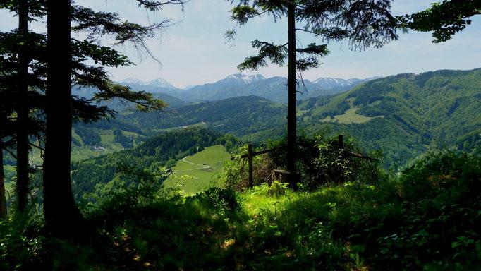 Blick auf den Nationalpark Kalkalpen vom Anstieg zum Hiaslberg