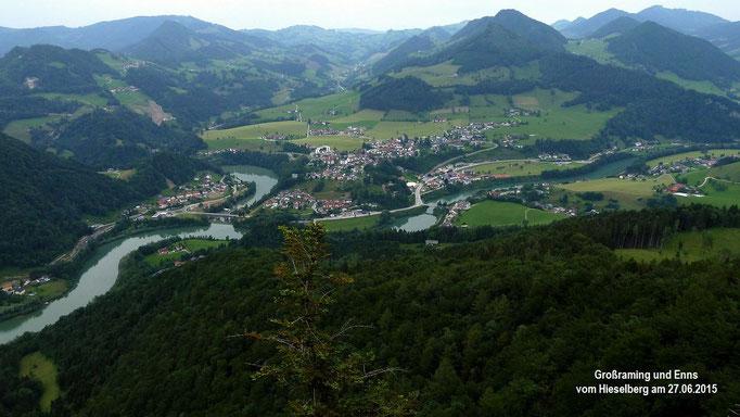 Großraming und Gegend bei Maria Neustift im linken Hintergrund vom Hieselberg