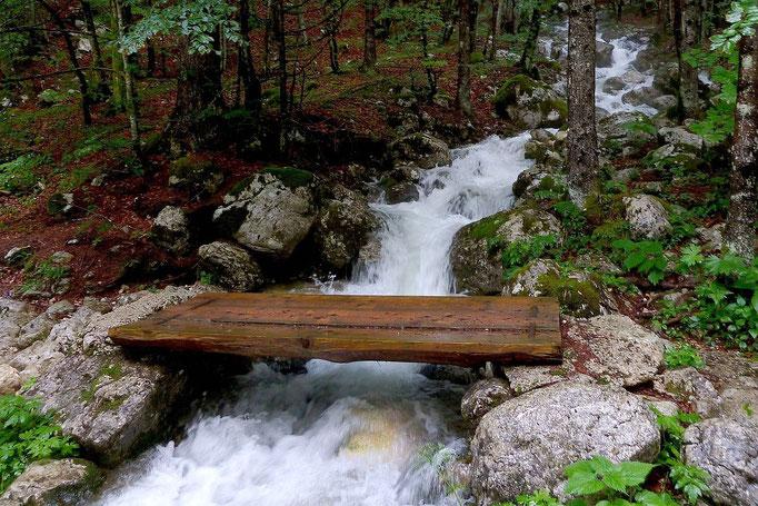 Holzstgeg über einen in die Mostnica mündenden Seitenbach