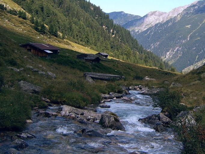 Die Hütten der Bodenalm und der Bodenbach