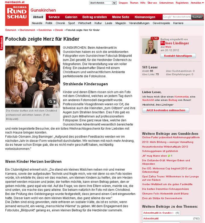 Chirstkind Shooting für herzkranke Kinder, veransaltet vom Fotoklub Bild Punkt
