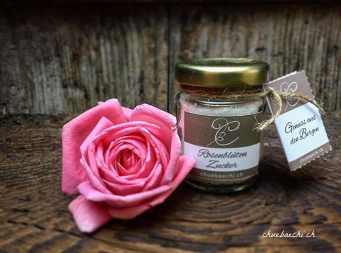 Hausgemachter Rosenblüten Zucker