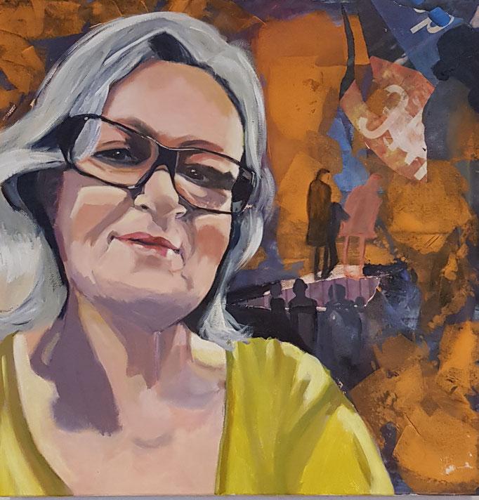 """""""Selbstportrait"""", 70 x 70, Acryl auf Leinen, 2019"""