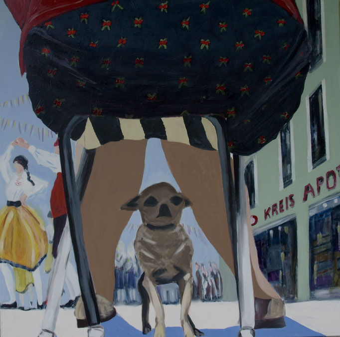 """Next year I'll stay at home, said the dog"", 100 x 100, Acryl auf Leinen, 2016"