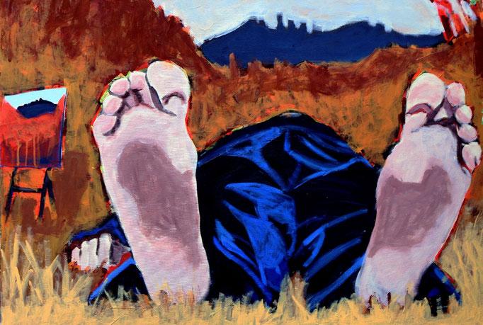 """""""Ex Tempore in Groznjan"""", 100 x 120, Acryl auf Leinen, 2015 (Sponsorpreis der Universita Popolare di Trieste, Triest)"""