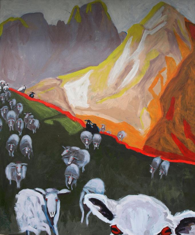 """""""Das Schweigen der Lämmer"""", 120 x 100, Acryl auf Leinen, 2015"""