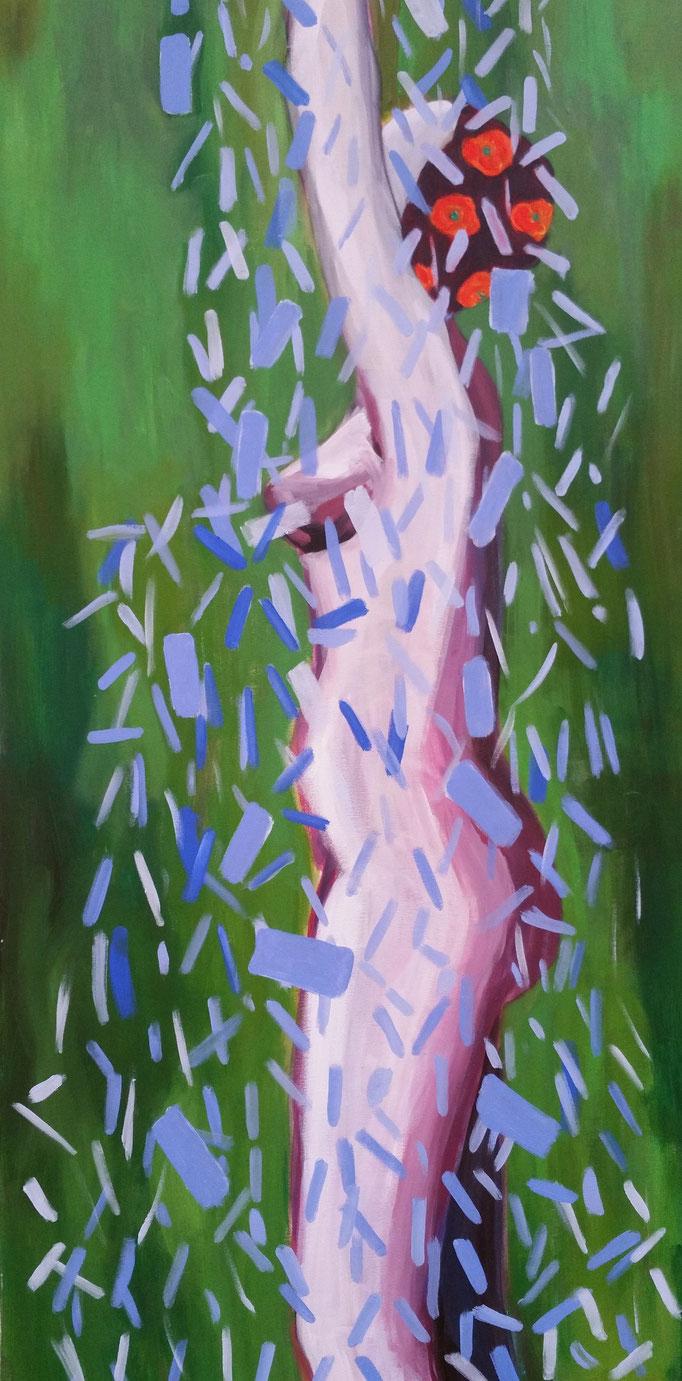 """""""Die Gartendusche"""", 100 x 60, Acryl auf Leinen, 2017"""
