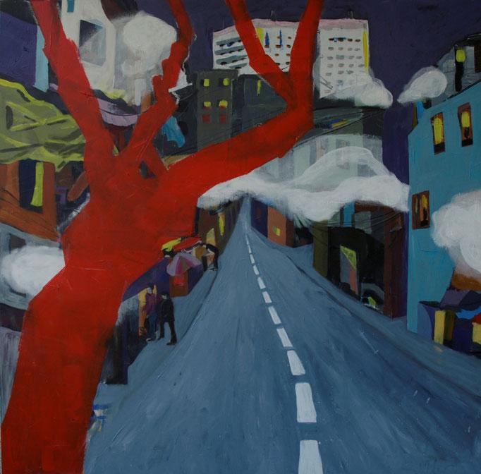 """Smog in the City"", 100 x 100, Acryl auf Leinen, 2015"