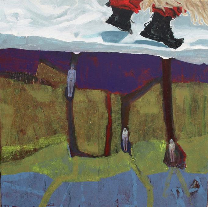 """""""The spring knocks at the door"""", 80 x 80, Acryl auf Leinen, Collage, 2014 - 4. Platz beim Ex-Tempore in Ptuj, Slowenien"""
