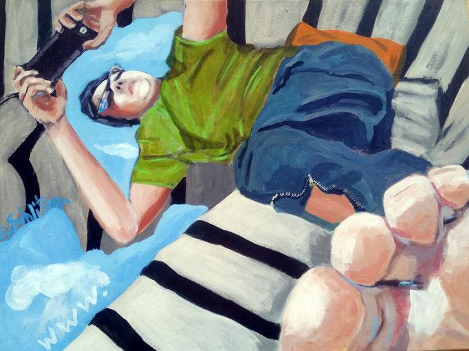 """""""World wide web"""", 80 x 100, Acryl auf Leinen, 2018"""