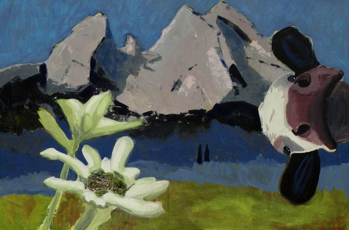 """""""Der Watzmann ruft"""" 80 x 100, Acryl auf Leinen, Collage, 2013 - 3. Preis beim Ex-Tempore in Berchtesgaden"""