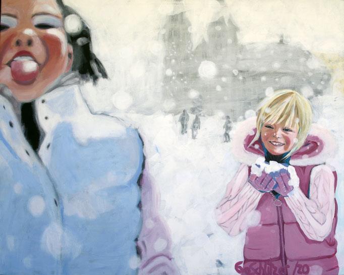 """""""Schnee II"""", 80 x 100, Acryl auf Leinen, 2020"""