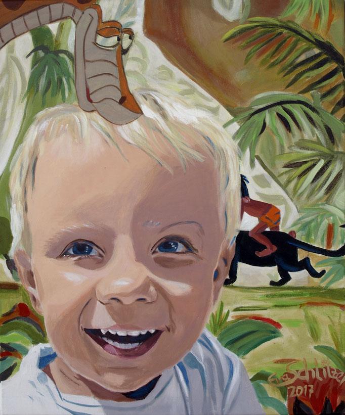 """""""Matteo in the jungle"""", 60 x 50, Acryl auf Leinen, 2017"""