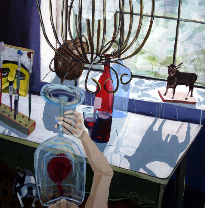 """Frühmorgens im Atelier"", 100 x 100, Acryl auf Leinen, 2021"