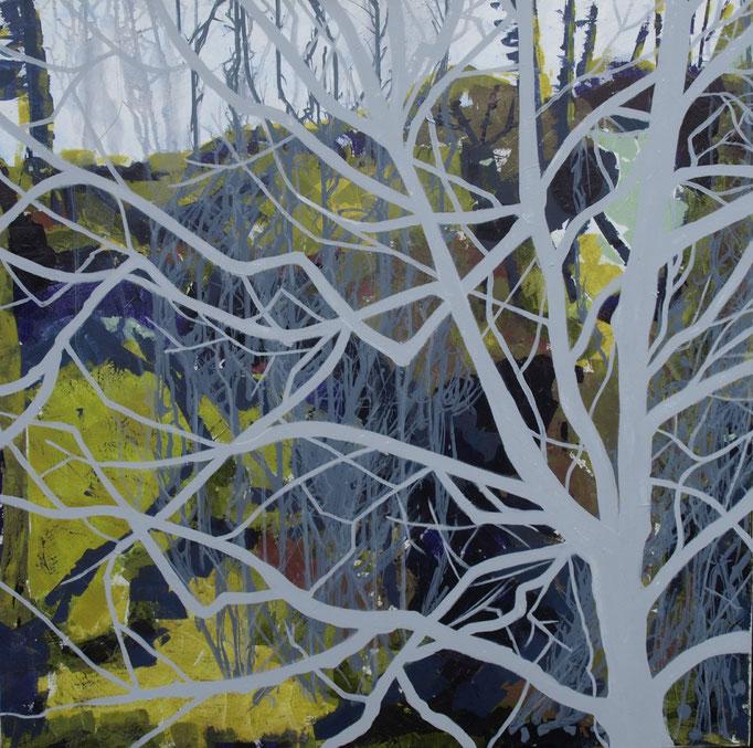 """""""Der Nussbaum"""", 100 x 100, Acryl auf Leinen, 2015"""