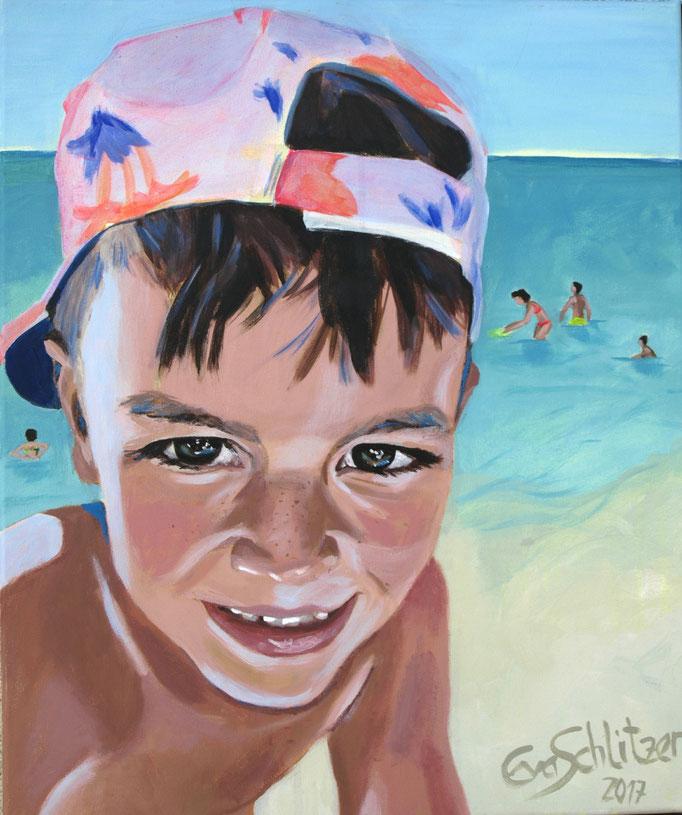 """""""Jonas on the beach"""", 60 x 50, Acryl auf Leinen, 2017"""