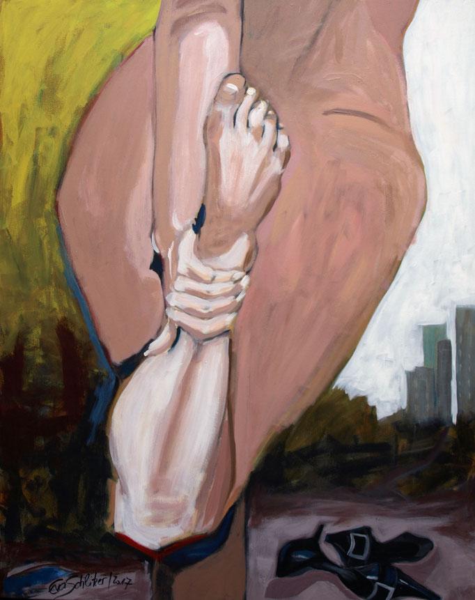 """Burn (out) in"", 100 x 80, Acryl auf Leinen, 2017"
