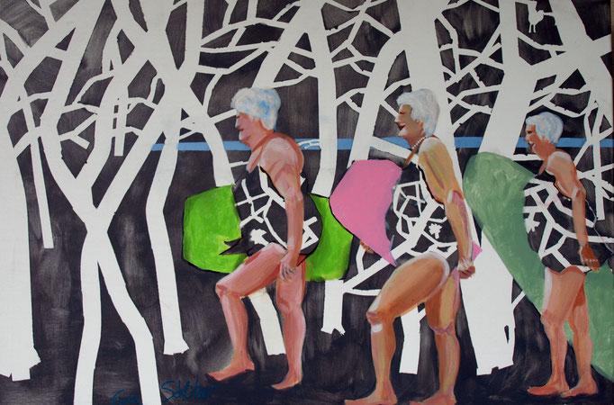 """""""Denn ich schulde meinen Träumen noch Leben"""",  60 x 90, Acryl auf Leinen, 2017"""