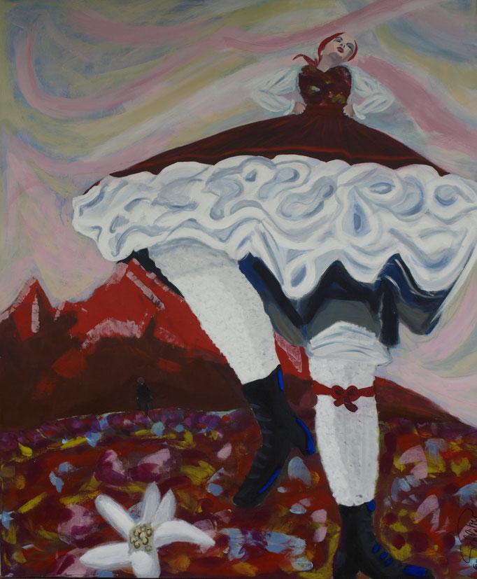 """""""Und ewig lockt das Edelweiß"""", 120 x 100, Acryl auf Leinen, 2011"""