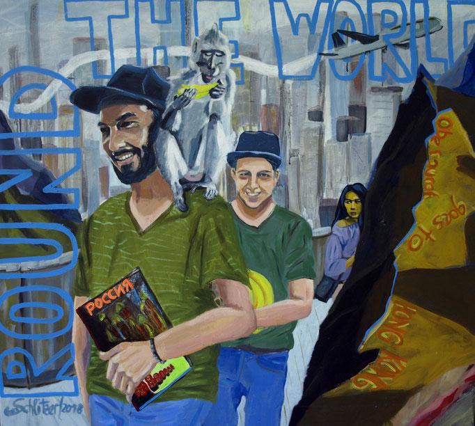 """""""Round the world"""", 100 x 100, Acryl auf Leinen, 2018"""