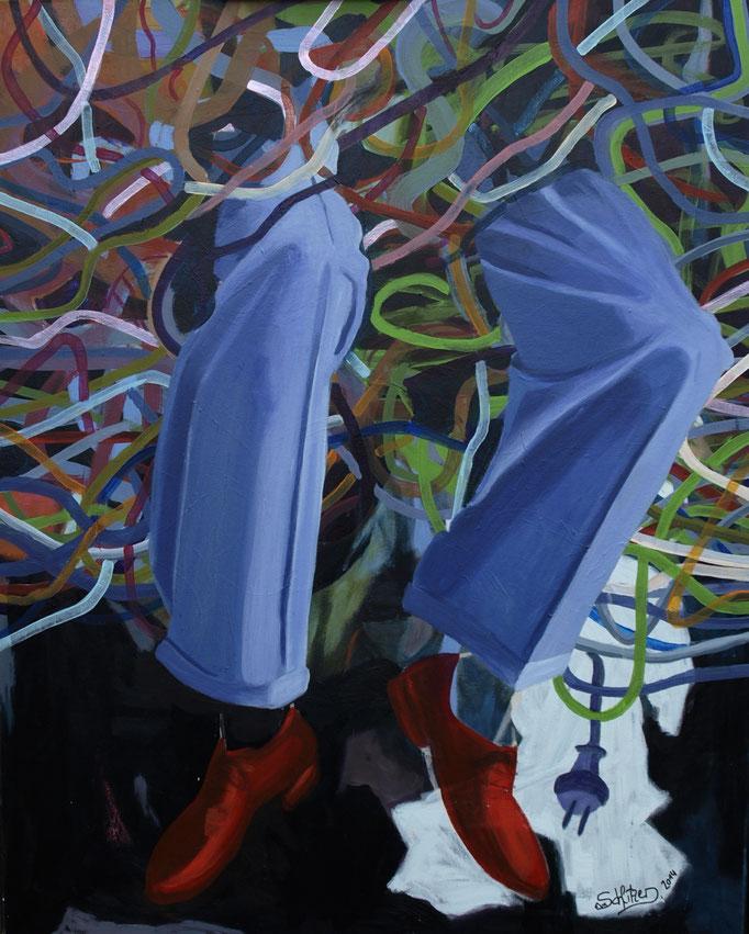 """""""Willkommen im 21. Jhdt."""", 100 x 80, Acryl auf Leinen, 2014"""