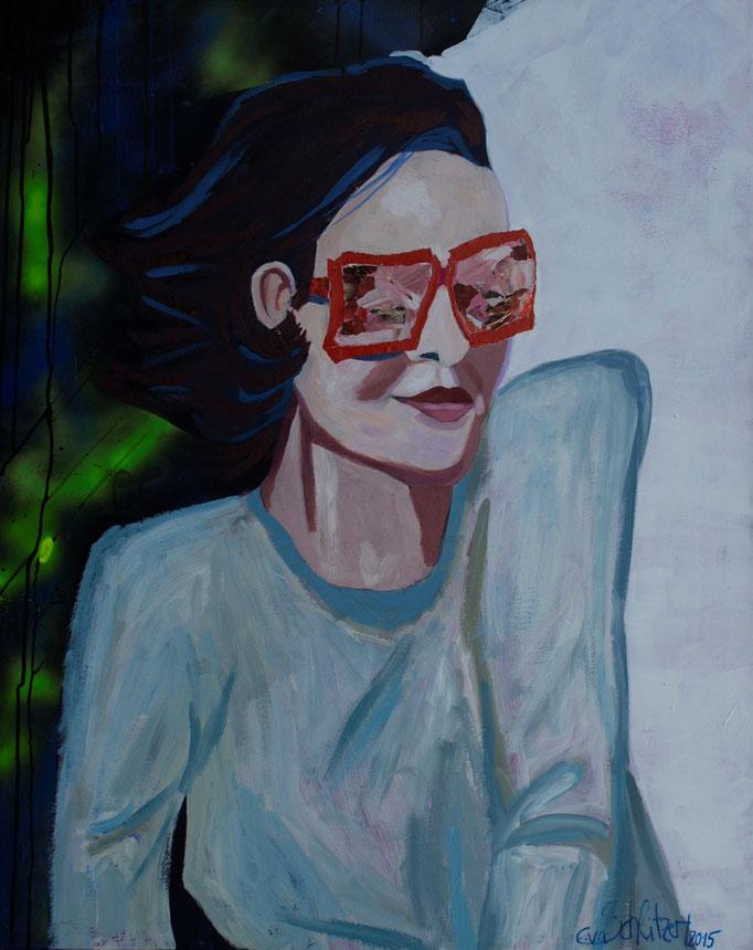 """""""Selbstportrait mit rosaroter Brille"""", 100 x 80, Acryl auf Leinen, Collage, 2015"""