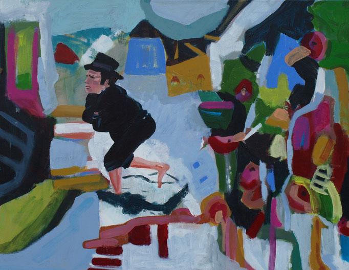 """""""Betrunkener Intellektueller um 5 Uhr Früh auf den Weg nach Hause"""", 80 x 100, Acryl auf Leinen, 2011"""