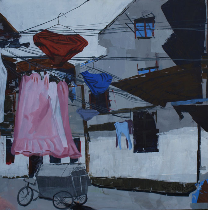 """Verliebt, verlobt, verheiratet, geschreddert"", 100 x 100, Acryl auf Leinen, 2015"