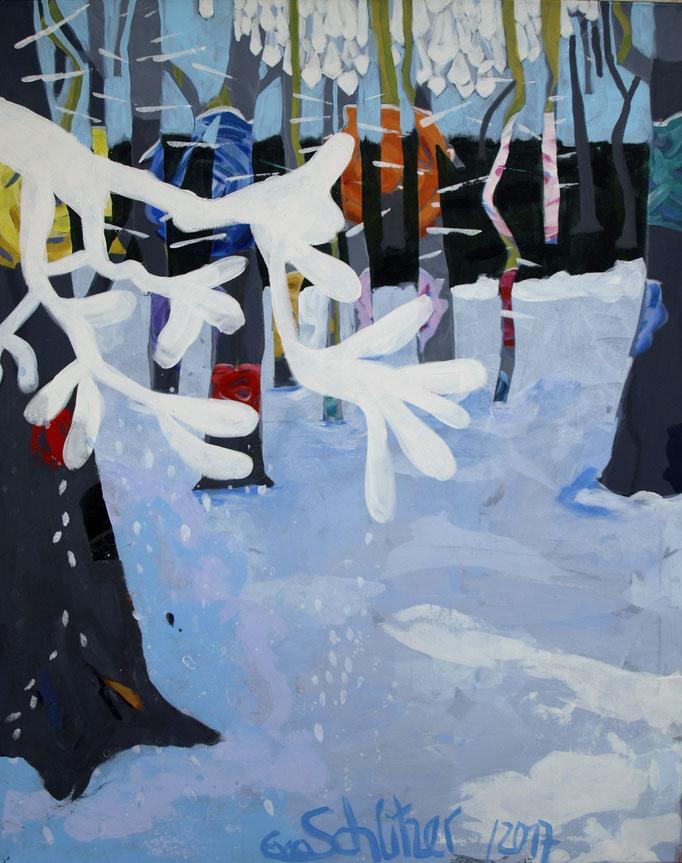 """""""Winterwald"""", 100 x 80, Acryl auf Leinen, 2017"""