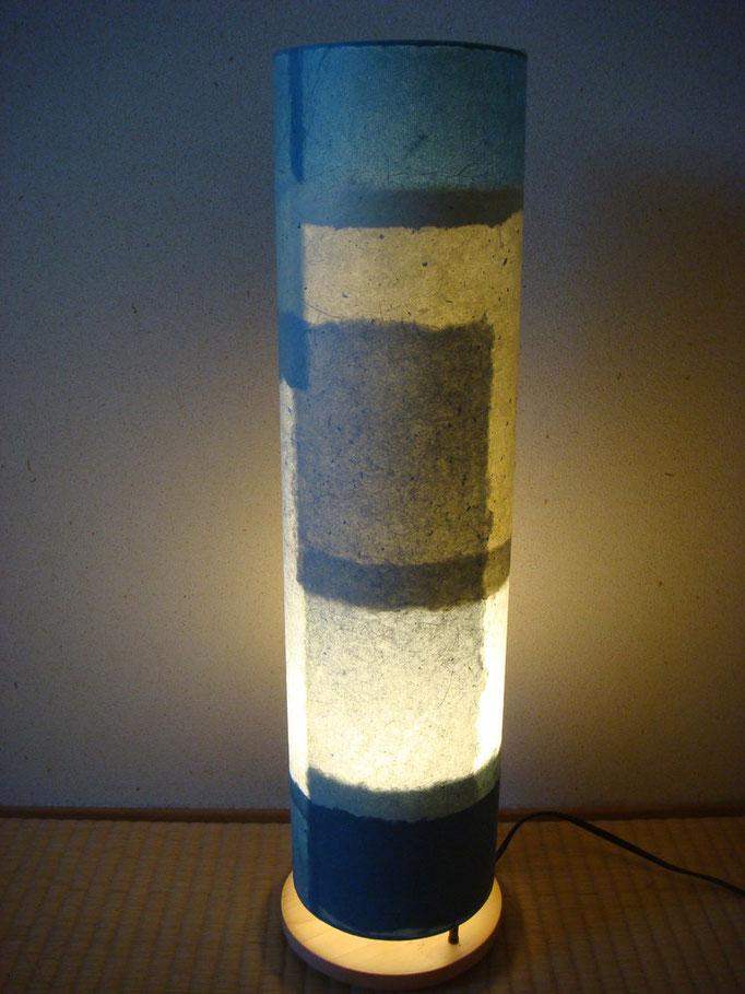 竹紙の照明器具(藍染め)
