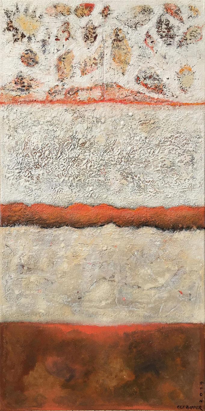 Ein schöner Tag, Eitempera mit Sand auf Leinwand, 50 x 100, 2019