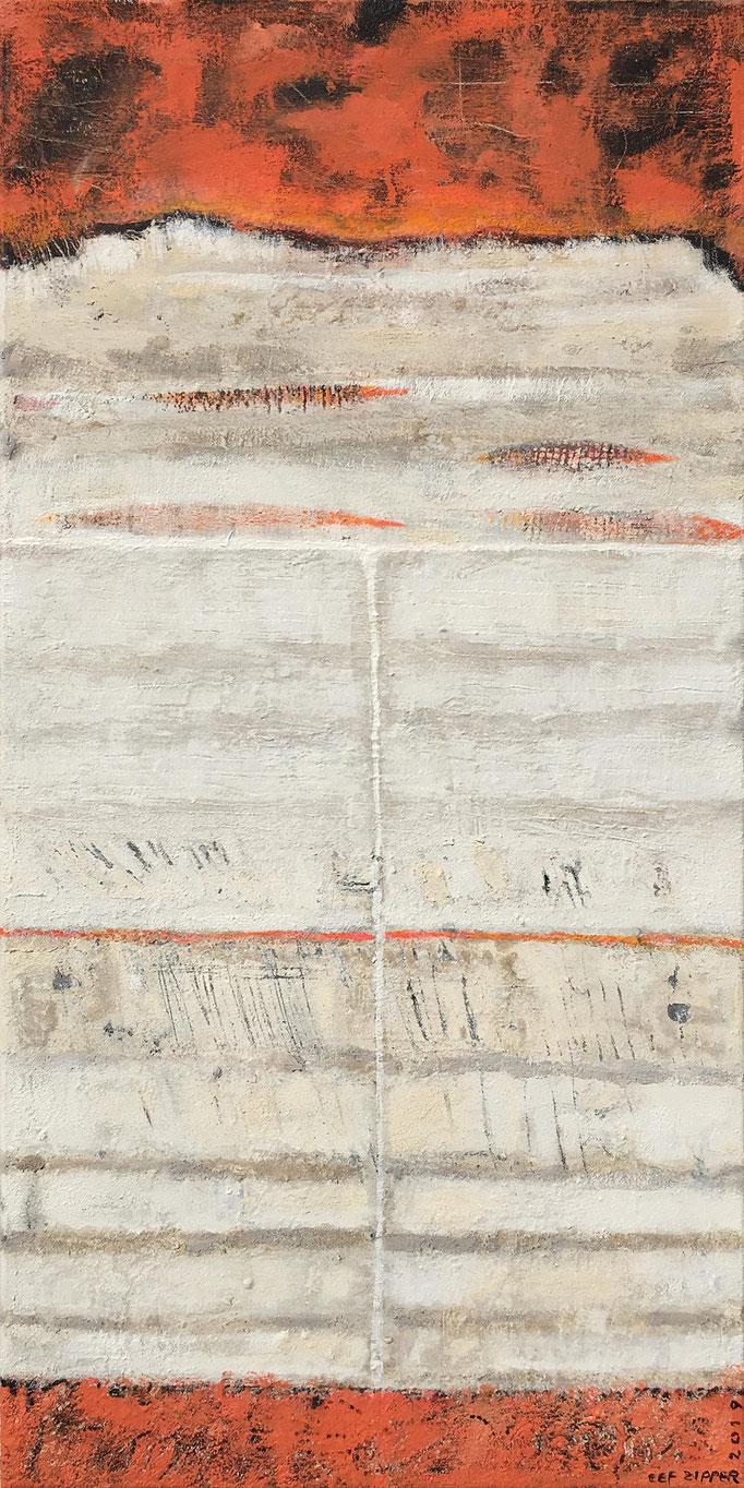 Ein Weg zur Morgendämmerung, Eitempera mit Sand auf Leinwand, 50 x 100, 2019