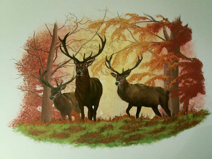 Hirsche im Wald - Wandgestaltung/Airbrush