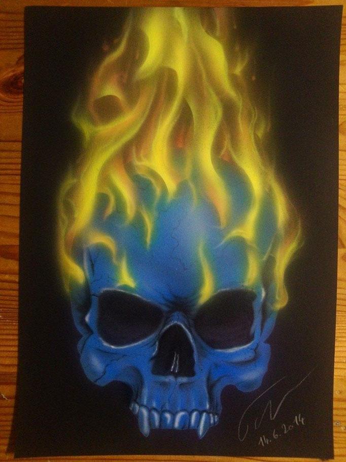 Burning Skull auf Papier - Airbrush