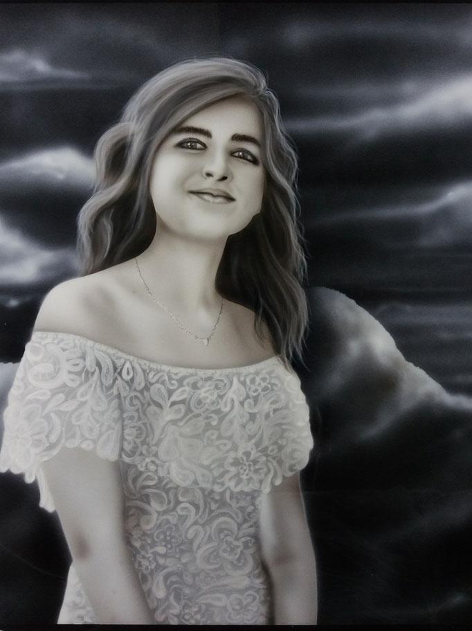 Portrait auf Holzplatte - Airbrush