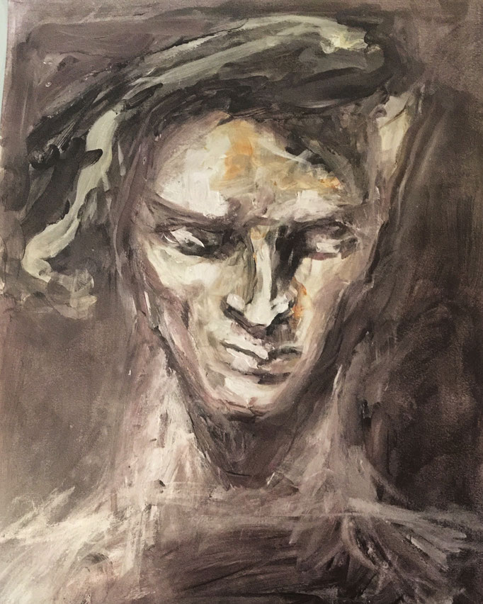 Hommage à Rodin, 2018, encre et cirage, papier marouflé sur bois, 29x42 cm