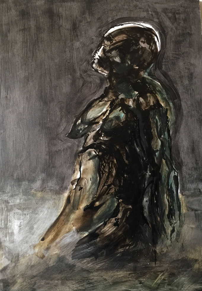 Hommage à Oussmane Sow, 2018, encre et cirage,  papier marouflé sur bois, 29x42 cm