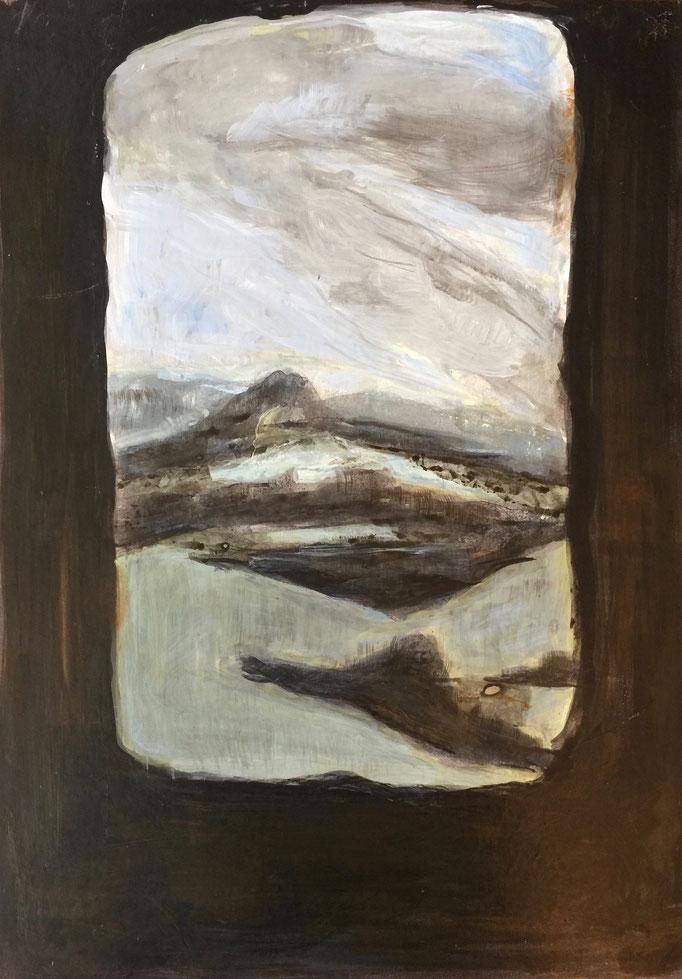 2017, acrylique et cirage,  papier marouflé sur bois,29x42 cm