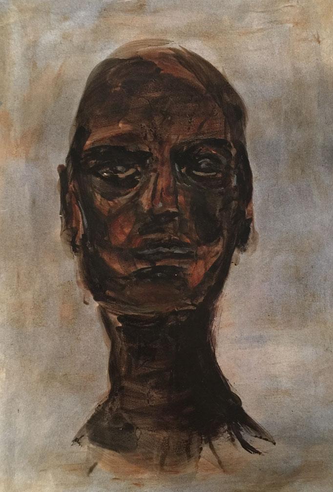 Hommage à Giacometti, 2018, encre et cirage, papier marouflé sur bois, 29x42 cm