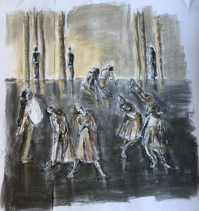 2017, Fusain, pastel sur papier, 81x84 cm