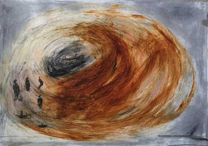 2017, cirage,  papier marouflé sur bois, 29x42 cm