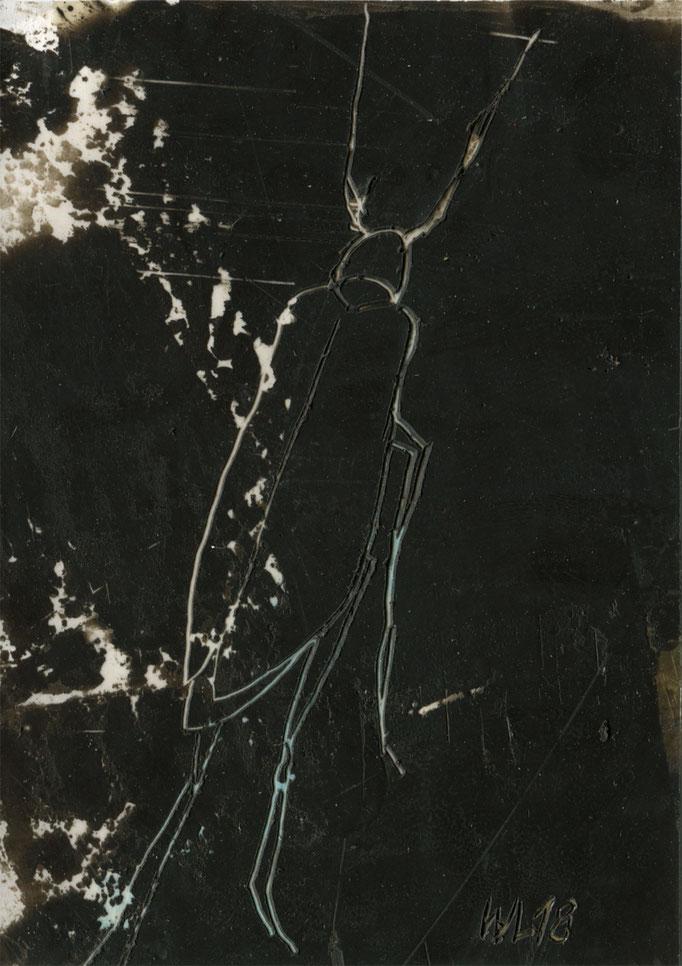 insection 18, 2018, 10 x 14 cm, verschiedene Wachse auf Papier