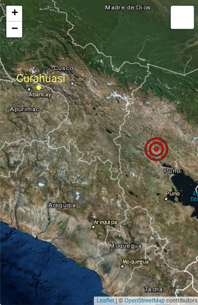 Entfernung zwischen dem Epizentrum und Curahuasi etwa 200 km Luftlinie.