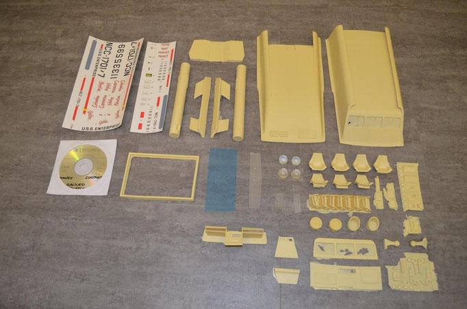Die Teile des Kits werden so geliefert