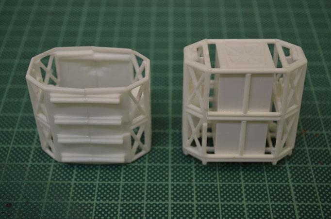 Vergleich: Links das Bausatzteil, rechts das detailierte Scratch-Teil