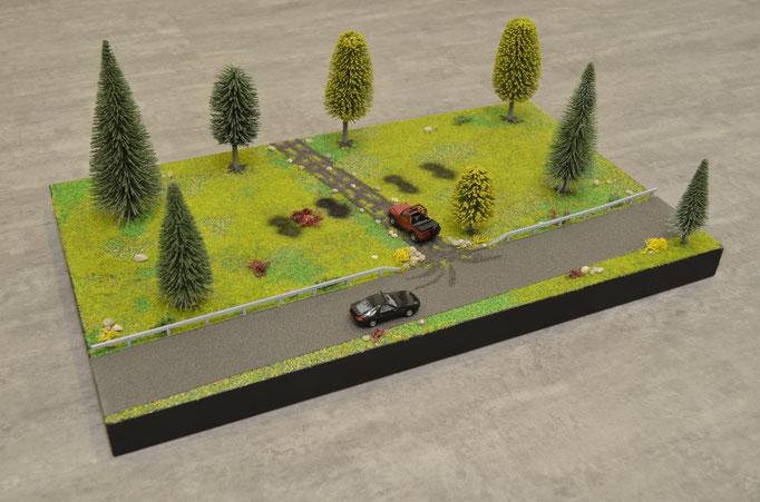 nach dem Positionieren der Details wie Bäume, Sträucher, Steine, Leitschine etc. ist die Diorama Base fertig