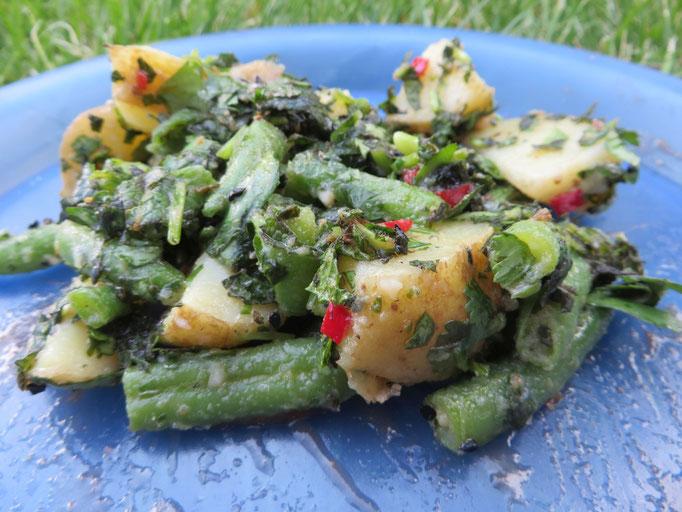 """Libanesischer Kartoffelsalat - Zitat M. H.: """"Grüne Kartoffeln sind doch sexy!"""""""