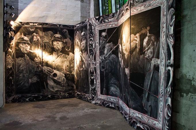 Peinture, conversation avec l'image - fresque Jean-Marc Comby (vue d'ensemble)